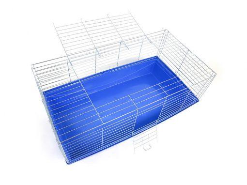Klatka dla Królika lub Świnki Morskiej 100 cm, niebieska kuweta, otwarta, widok z góry