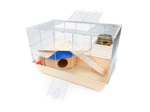 Klatka dla gryzonia Mega1 z domkiem, drewniane wyposażenie, beżowa kuweta
