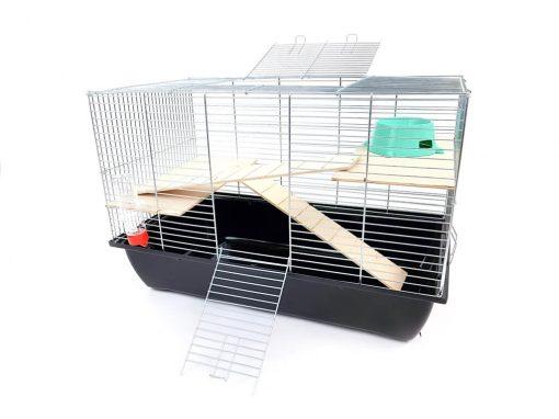 Klatka dla gryzonia Mega1, drewniane wyposażenie, czarna kuweta