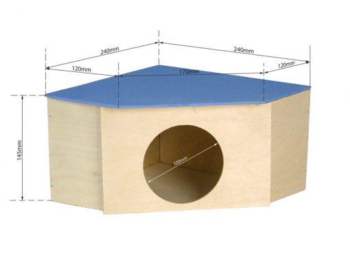 Drewniany domek narożny dla gryzonia z wymiarami