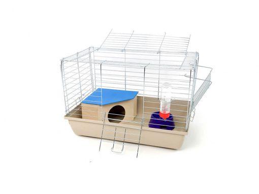 Klatka dla królika lub świnki morskiej 60cm z domkiem narożnym